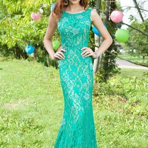 Jovani  stretch lace open back evening gown